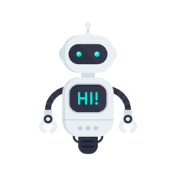 Robot on white. Chatbot icon. Bot say hi on screen. Customer support service chat bot. Flat vector illustration
