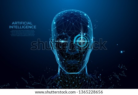 Robot or cyborg man with AI - artificial intelligence. facial recognition.  Biometric scanning, 3D scanning. Face ID.  scan technology. Polygon vector wireframe vector. RPA