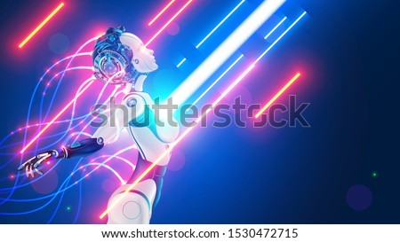 Robot or cyborg with wires sticking out is in the flow of digital information. Beautiful female cybernetic humanoid organism with artificial intelligence. Automaton or machine with AI processes data. Stock fotó ©