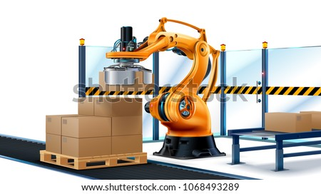Robot Palletizing Systems, Robotic arm loading cartons on pallet. Boxes on conveyor of manufacture. Automate processes production on factory, Logistics technology of industry.