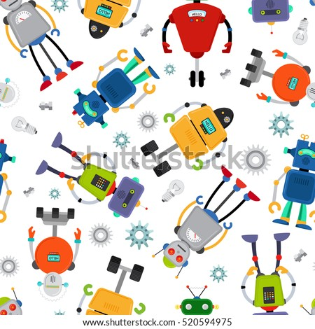 robot pattern with cute