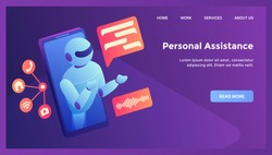 robot personal assistance concept for website template landing homepage with modern isometric flat