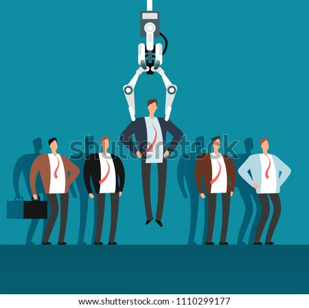 Robot recruiter with industrial claw choosing man from selected group of people. Recruitment, employment agency vector business concept. Robotic choose and select human recruit illustration
