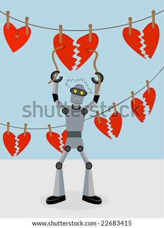 Robot repairing strings of broken hearts for Valentine Day