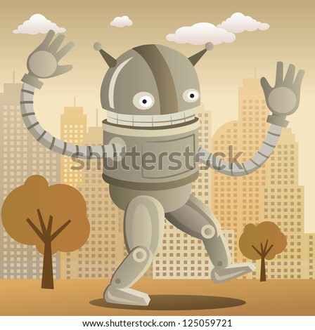 Robot (retro colors) - stock vector