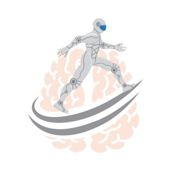 Robot running around human brain, vector