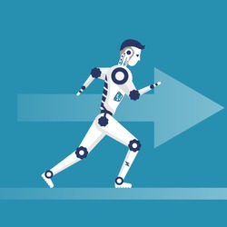 Robot running. Cyborg with fast speed in competition. Vector illustration flat design. Isolated on background. Technology artificial intelligence.