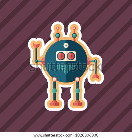 robot scout sticker flat icon