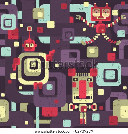 robot seamless pattern in
