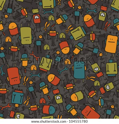 Robot seamless texture on dark background. Vector doodle illustration.
