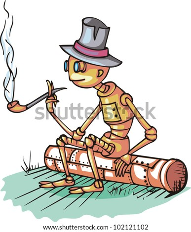 robot sits on pipe and smokes