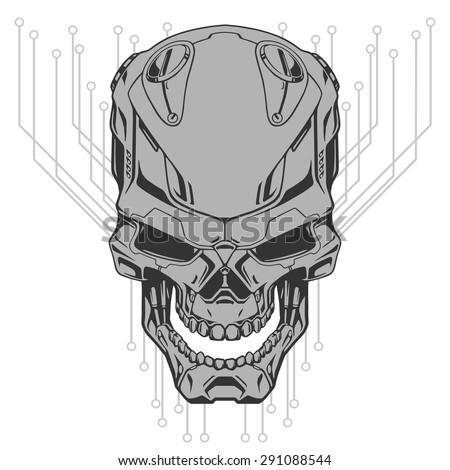robot skull line art