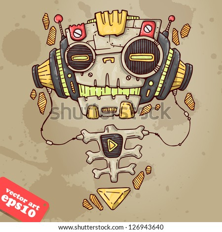 robot skull with headphones