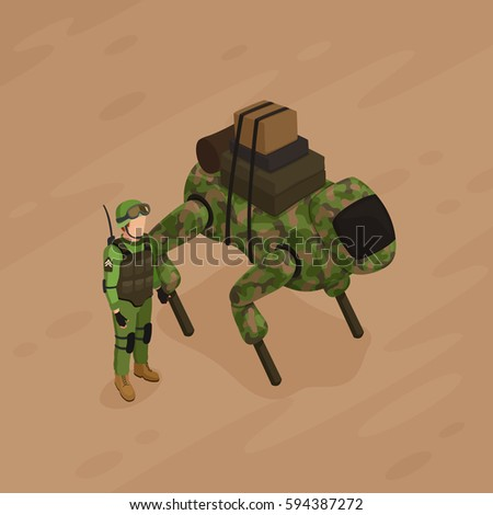 robot soldier of khaki color