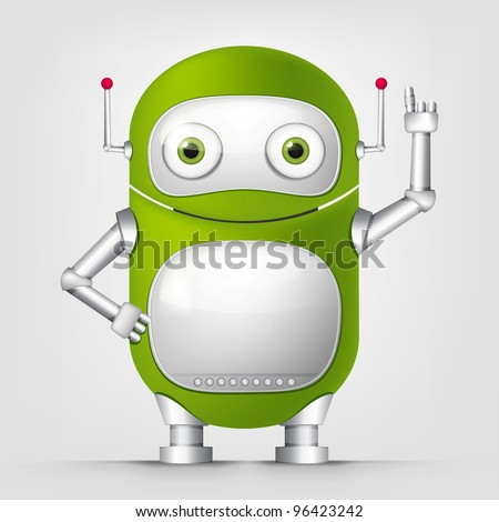 Robot TECHO on Grey Background. Vector.
