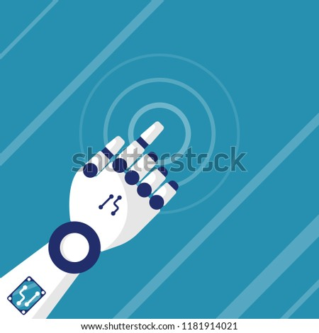 Robot touches the screen. Working with virtual interface. Design element for web and mobile applications. Vector illustration flat design. Isolated on background.