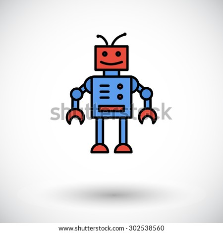 robot toy icon flat vector