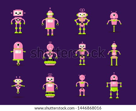 robot toys collection in pink