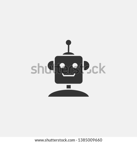 Robot vector icon solid grey