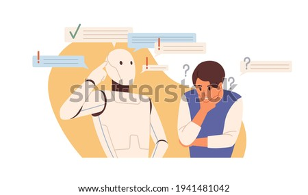 Robot vs human concept. Smart AI versus people's mental capacity. Artificial intelligence and person thinking and solving problems. Colored flat vector illustration isolated on white background Stock fotó ©
