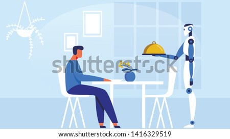 Robot Waiter Serving Man in Restaurant Flat Vector Illustration. Cartoon Male Character Sitting at Table in Modern Cafe. Artificial Intellect Offers Person Tray with Dishes in Restauran. Giving Food.