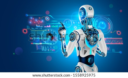 Robot with AI stands with back to viewer and works with industrial 3d virtual interface. Cyborg rear view taps finger on button holographic touch screen. Artificial intelligence looks at monitor.