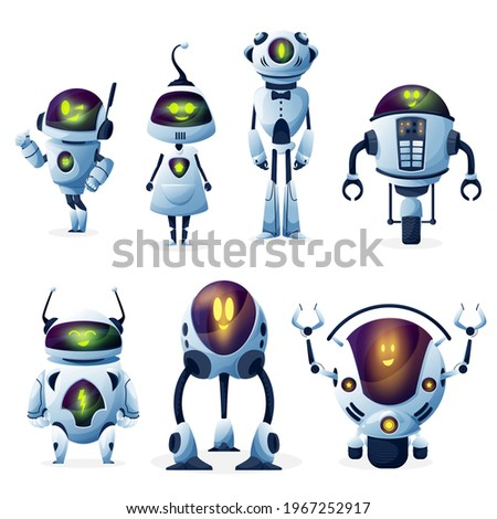Robot with artificial intelligence cartoon characters with vector female and male bots. Cute modern android woman, cyborg men and robotic helpers with funny smiling faces, future technologies design