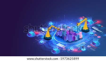 Robot with artificial intelligence create design house or home, architecture building concept. Modern building, smart city. Construction, development, architecture. Smart construction without people.