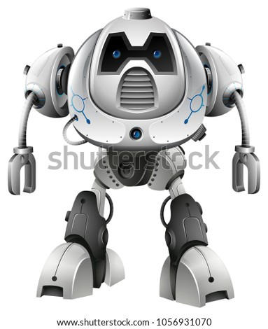 robot with blue eyes on white