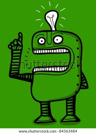 robot with brilliant idea - stock vector