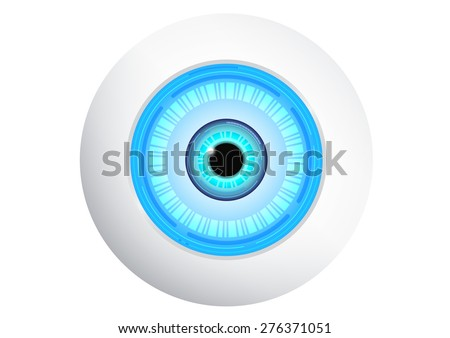 robot with digital blue eye
