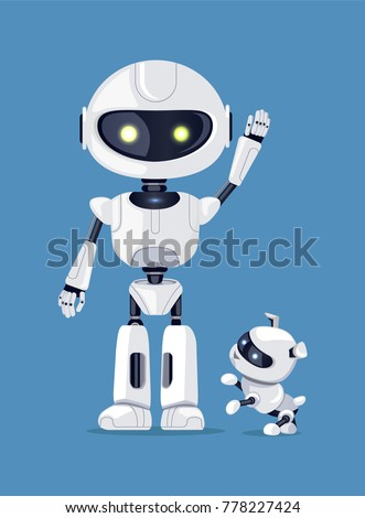 robot with raised arm  waving