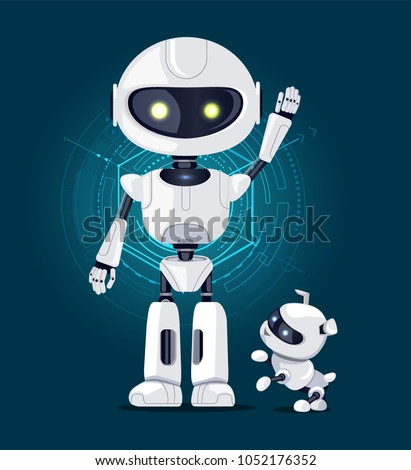 Robot with raised hand and white eyes, and robotic dog ready to play with master, interface with lines on background isolated on vector illustration