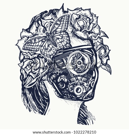 robot woman tattoo