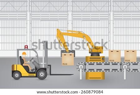 robot working with conveyor