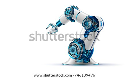 robotic arm 3d on white background. Mechanical hand. Industrial robot manipulator. Modern industrial technology.
