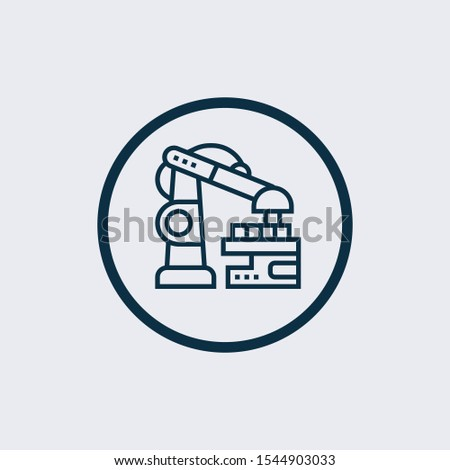 Robotic arm icon isolated on white background. Robotic arm icon in trendy design style. Robotic arm vector icon modern and simple flat symbol for web site, mobile, logo, app