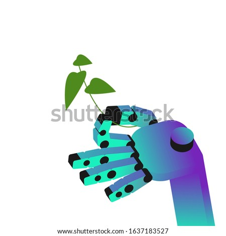 robotic arm is holding green