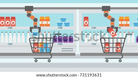 robotic arm putting groceries