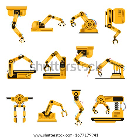 Robotic arms. Manufacturing industry mechanical robot arm, machinery technology, factory machine hands isolated vector illustration set. Mechanical robotic arm, hand engineering robot set
