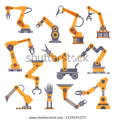 Robotic arms set. Manufacturing automation technology. Industrial tools mechanical robot arm machine hydraulic equipment automotive. Factory assembly robots conveyor isolated flat design vector set
