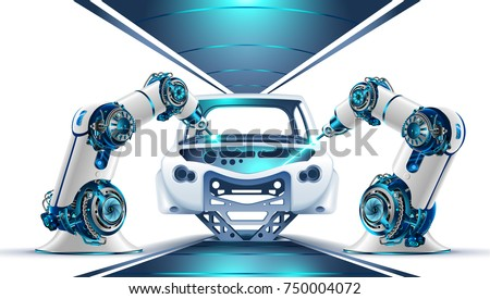 Robotic arms works on factory on manufacture of cars. Industrial robotic welders weld the car body on the Assembly line.