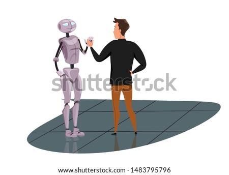 robotic companion flat vector