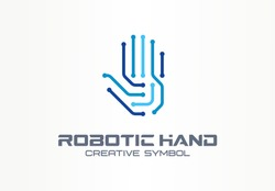 Robotic hand creative symbol concept. Digital technology, cyber security abstract business logo. VR touch, electronic, automation, ai cyborg icon. Corporate identity logotype, company graphic design