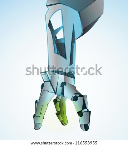 Robotic hand manipulating in future vector illustration