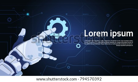 Robotic Hand Touch Gear Icon Technical Support Service And Artificial Intelligence Concept Flat Vector Illustration