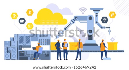 Robotic machinery flat vector illustration. Factory workers, engineers cartoon characters. High tech manufacturing technologies. Coworkers standing near assembly line. Industrial revolution concept