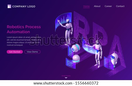 Robotic process automation or rpa isometric concept vector. Artificial intelligence robots analyze data and diagrams on dashboard virtual screens, SEO workflow isolated on purple, infographic banner Stock photo ©