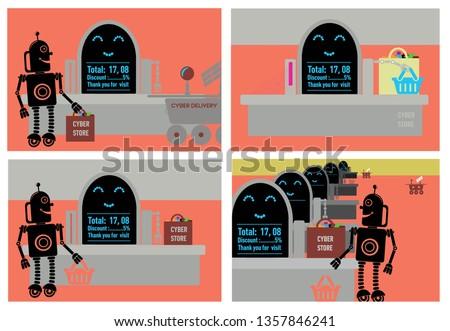 Robotic process automation. Set. Robot in big retail store at cash desk.