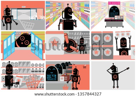 Robotic process automation. Set. Robot in big store.  Comics of cyborg`s visit to supermarket from entrance to cash desk.